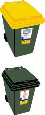 Westland s Kerbside Collection Service The collection has two different wheelie bins: Recycling bin (yellow lid) This large 240 litre bin will be collected from the kerbside fortnightly on your