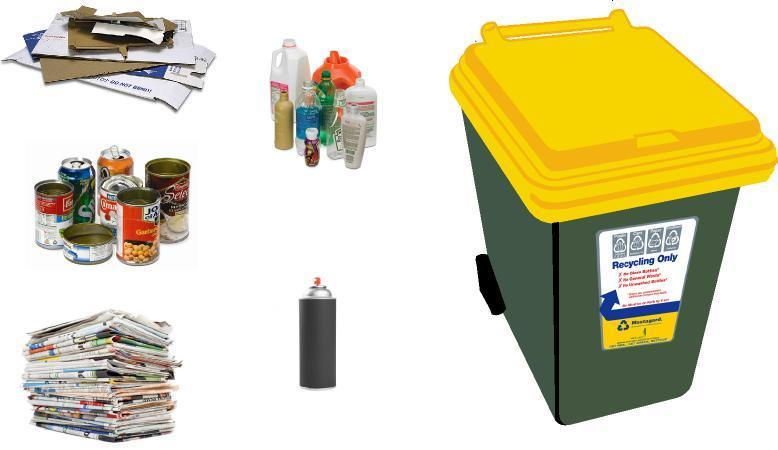 The yellow recycling bin is for clean: Paper Cardboard Plastic containers and bottles (1,2,4 and 5) Metal tins and cans What not to put in your recycling bin: Aerosol Cans Gas bottles Ash (Hot or