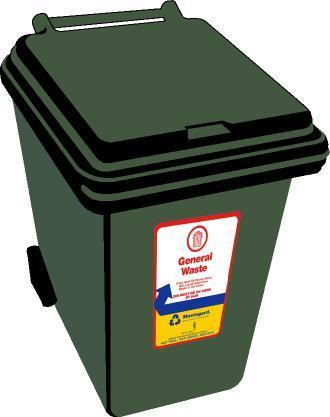 Your green bin is for general waste What not to put in your rubbish bin: Sharp objects or material capable of puncturing the bin. Any explosives, hot ashes or flammable material.