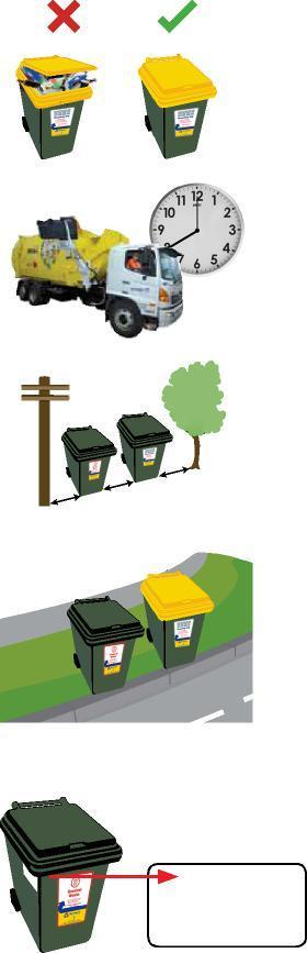 How to use your wheelie bins: To ensure your bin is collected, please follow these guidelines: Bin lids must be closed flat to ensure collection.